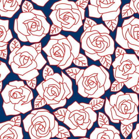 Dense Rose Line Art Navy White