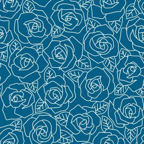 Dense Rose Line Art Grayish Blue