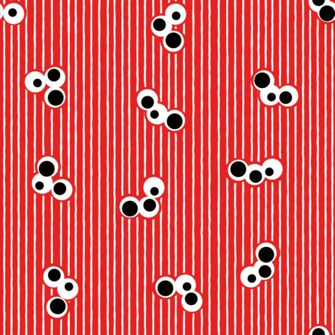 Triple Dot and Stripes Red Black